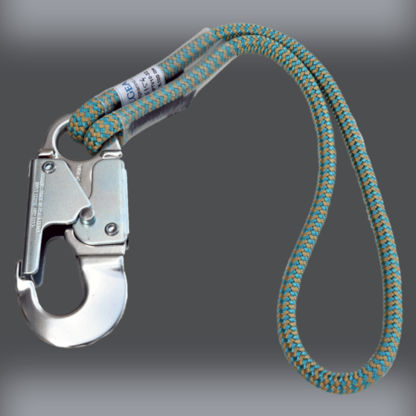 """16 STRAND ALL GEAR 1//2/"""" X 10/' EXTENDABLE SAFETY LANYARD W// DOUBLE LOCKING SNAP"""